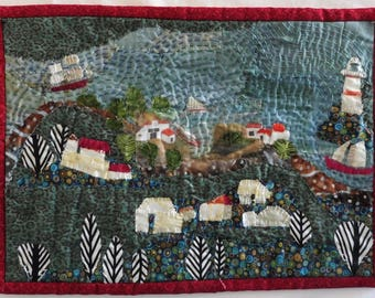 "By The Sea  11""x15"" Fabric collage"