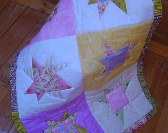 "Baby girl ""stars"" patchwork blanket"