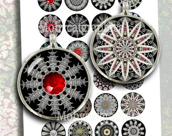 Gothic Mandala 20mm 25mm 1inch 1.5 inch Printable round Images for Cabochons Bottle caps Pendants Digital Collage Sheet