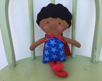 "Biracial, Little boy ""Super Hero"" doll, perfect for imaginative play!"