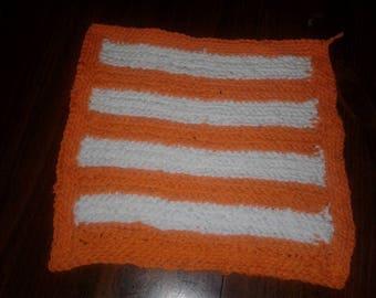 Orange and White Dishcloth