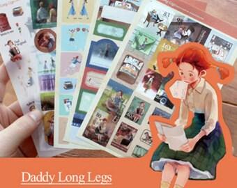 Daddy Long Legs Classic Story Illustration Sticker Diary Planner Scrapbook Calendar Book Decor
