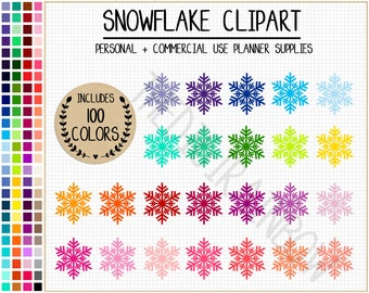 SALE 100 SNOWFLAKE clipart snowflake stickers christmas clipart winter graphics rainbow planner stickers christmas stickers frozen printable