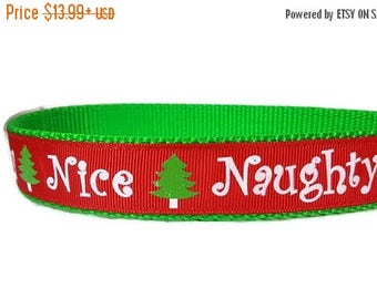 "SALE Naughty and Nice Dog Collar * Christmas Dog Collar 1"" Width Only * Buckle Collar * Martingale Collar * Chain Martingale * Nylon Dog Col"