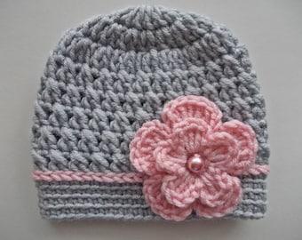 Baby girl hat Crochet baby hat Girl hospital hat Gray baby girl hat Newborn girl beanie Baby girl outfit Newborn girl hat Newborn gray hat