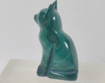 Malachite Cat Carving.