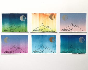Postcard 6-Pack Moon & Mountains Collection
