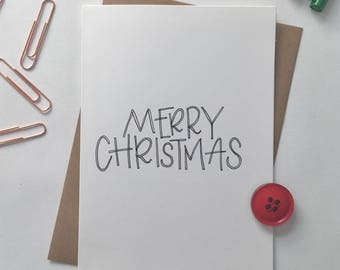 Merry Christmas - christmas card - festive - family - friendship - handmade - handdrawn - cards for friends - unique card - fun christmas