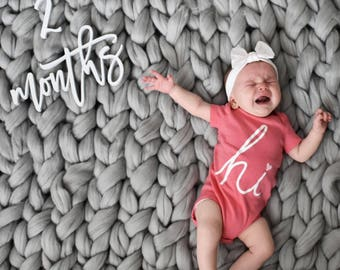 Monthly Milestone Photo Prop | Wood Number Cutouts | Wood Cutout | Custom Month Update | Baby Milestone | Baby Growth | Baby Mobthly Update