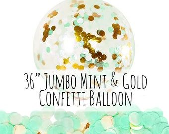 "Mint and Gold Confetti Balloon, 36"" Extra Large Balloon, Mint Tissue Paper Confetti Filled Balloon, Party Decoration, Wedding, Photo Prop"
