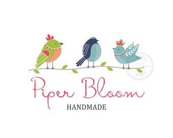Premade Logo Birds Three Kids Logo Handmade Watercolor Wedding Signs Custom Shop Logo Business Card Branding Business Logo Design  LD267