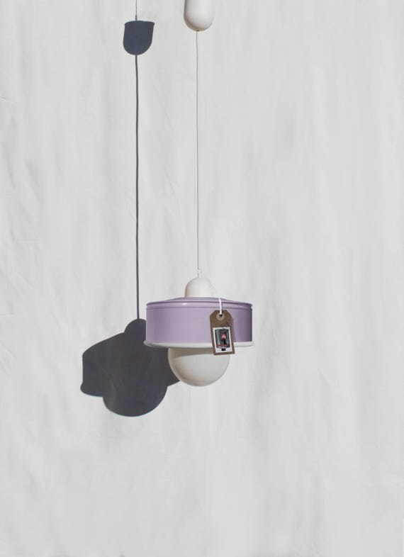 Hanging lamp / pendant light /ceiling lamp, pastel violet / maulve color, eco friendly : recycled from  coffee can ! LED light bulb included