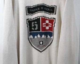vintage triple five soul 555 knit sweater sz xxl