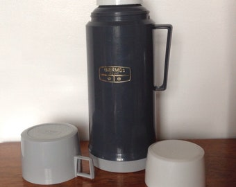 Vintage GreyThermos Flask. One Litre Flask. 1970's/80's