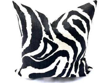 Free shipping/ZEBRA LINEN PILLOW Cover22 x 22  inches-Black and Ivory-Animal print-Throw pillow-Decorative pillow-Accent pillow-Square