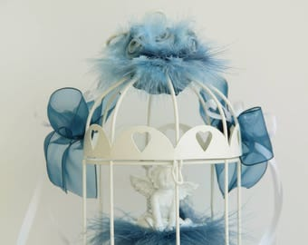 Ring bearer wedding bird cage lantern with Angel feathers pearls ribbons flowers