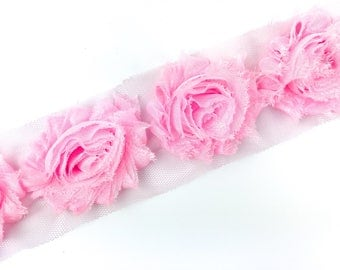 Light Pink Shabby Flower Trim - 2.5 inch Shabby Chiffon Flowers - Headband Accessories - Shabby - 6 flowers