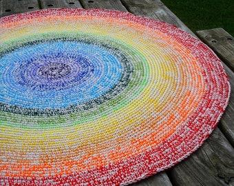 Rainbow crochet rug, rainbow rug, crochet rainbow, crochet round rug, crochet area rug, crochet floor rug, nursery rug, childrens rug, rugs