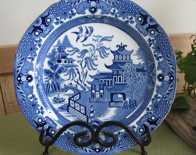 Burleigh Ware Blue Willow Plate Gold Trimmed Unusual Willow Pattern Open Fence
