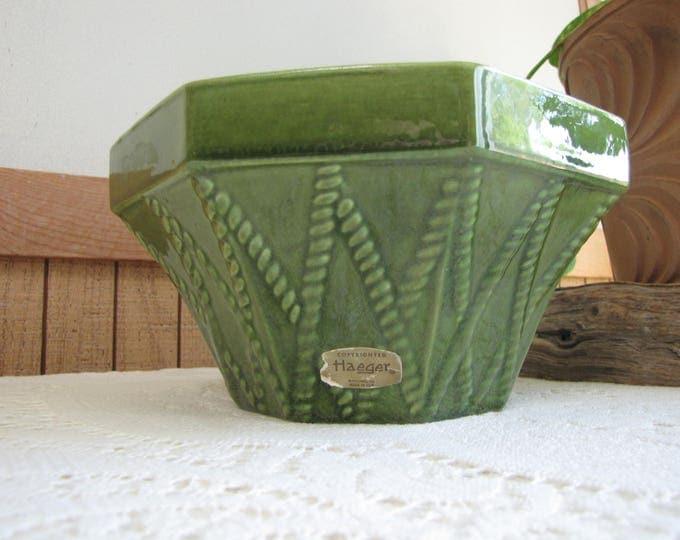 Haeger Green Octagon Planter Vintage Planters and Pots #834 U.S.A. Indoor Gardens Succulent and Plants