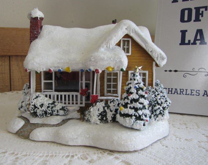 Thomas Kinkade Childhood Home Teleflora Gift Lighted Winter Village House Holiday and Christmas Home Decorations and Gifts