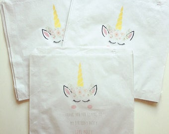 Unicorn Party Bags Sweetie Baby Shower Chrsitening Personalised