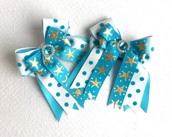 Shorty Horse show bows/equestrian clothing/turquoise blue sparkle gem/gift