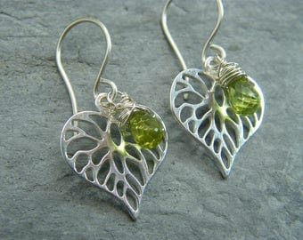 August birthstone ~ Peridot earrings ~ Peridot jewelry ~ Jewelry gift ideas for August birthday ~ Sterling silver ~ Leaf earrings ~ Peridot