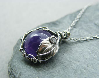 Amethyst pendant etsy mozeypictures Images