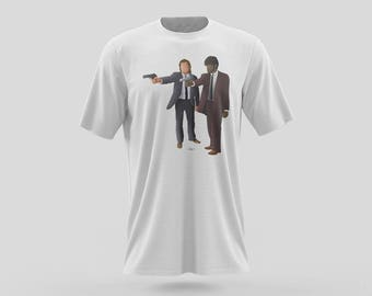 Vincent Vega and Jules Winnfield from Pulp Fiction T-Shirt Design, a pop culture iconic film directed by Quentin Tarantino in Los Angeles