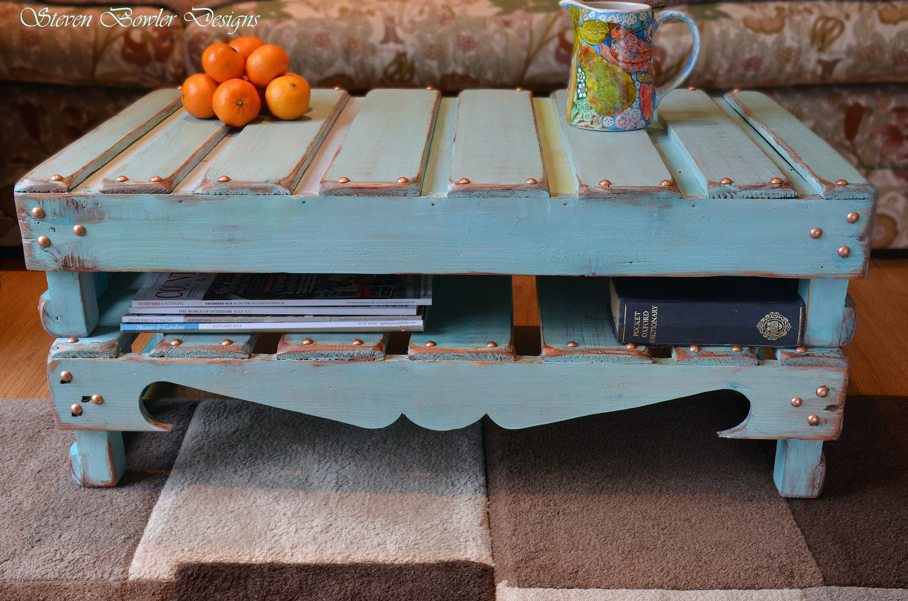 Rustic Reclaimed Wood Coffee Table Hand Painted in Duck Egg Blue