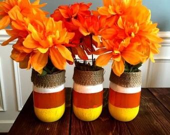 Candy Corn Mason Jar   Fall Decor   Halloween Decor   Thanksgiving Decor   Make it a vase, pencil holder, candle holder, or candy jar!
