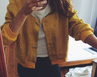 Yellow Bomber from recycled vintage - One of a kind