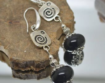 RESERVED earrings glass beads Lampwork black 925 Silver hooks