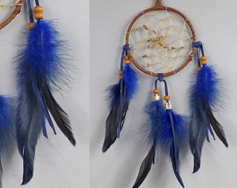 Wall Hanging Dreamcatcher, Blue and Brown Dream Catcher, Boho Wall Hanging, Boho Wall Hanging, Boy Dream Catcher