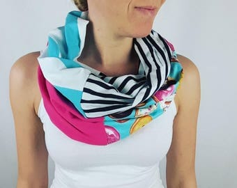 Donut blue and fushia infinity scarf,  infinity scarf, 100% cotton Women scarf colorfull, aprt