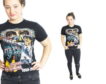 Michael Jackson shirt, MJ tee, Jackson top, Vintage Jackson shirt, Short sleeve shirt, King of pop, band tee, womens shirt / Small Medium