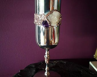 Sacred Goblet, Handset with Australian Quartz Cluster and Amethyst, Heirloom, Altar, Wedding, Ritual, Occult, Gothic, Magical, Witchcraft.