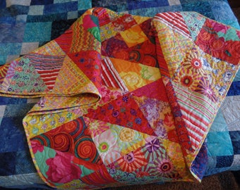 Lap Quilt, Kaffe Fassett, Throw, Tablecloth, Wall hanging, Handmade