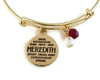 Meredith College Bracelet/Meredith College Gold Bangle/Meredith College Gifts/Meredith College Jewelry/Maroon and White