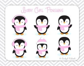 Penguin Clip Art, Girl Penguins Clip Art, Penguin Clipart, Pink Penguins, Commercial Use, INSTANT DOWNLOAD