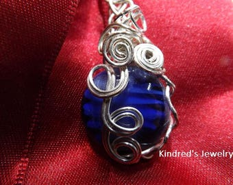 Wire Wrapped Glass Lamp work bead.