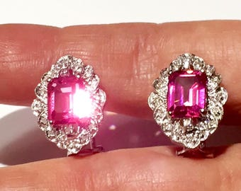 Natural Pink Emerald cut Topaz and Diamonds 14k gold Art Deco style earrings