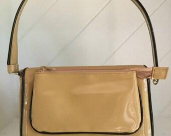 70's Handbags, Carmel Color Vinyl Handbag Purse,80's Handbags Purse