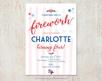 FIREWORK Fourth Of July Red White & Blue Birthday Printable Invitation, Personalized For You, Digital File