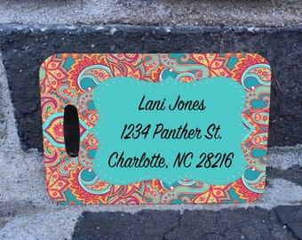 Custom Coral Paisley/Lily Pulitzer inspired Luggage Tags