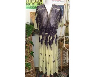 Vintage 70's sheer pale yellow and navy starburst faux wrap dress   