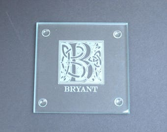 Glass Coaster Set of 10 - Personalized Glass Coaster Set - Engraved Custom CLEAR Drink Coaster Set