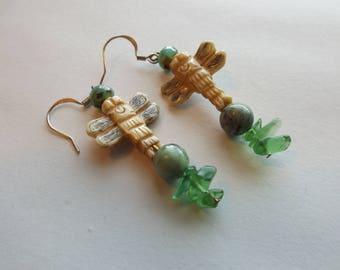 Bone Dragonfly Earrings