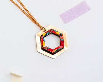 Rose gold necklace - Geometric necklace - Hexagon Necklace - Jewellery - Minimal Necklace - Geometric Necklace - Colourful Jewellery